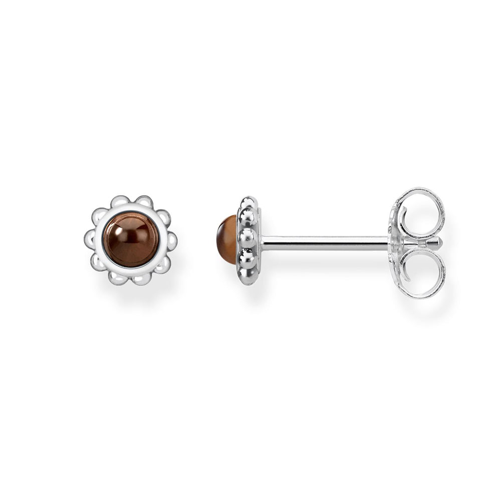 Glam & Soul Ethnic brown stone silver earrings