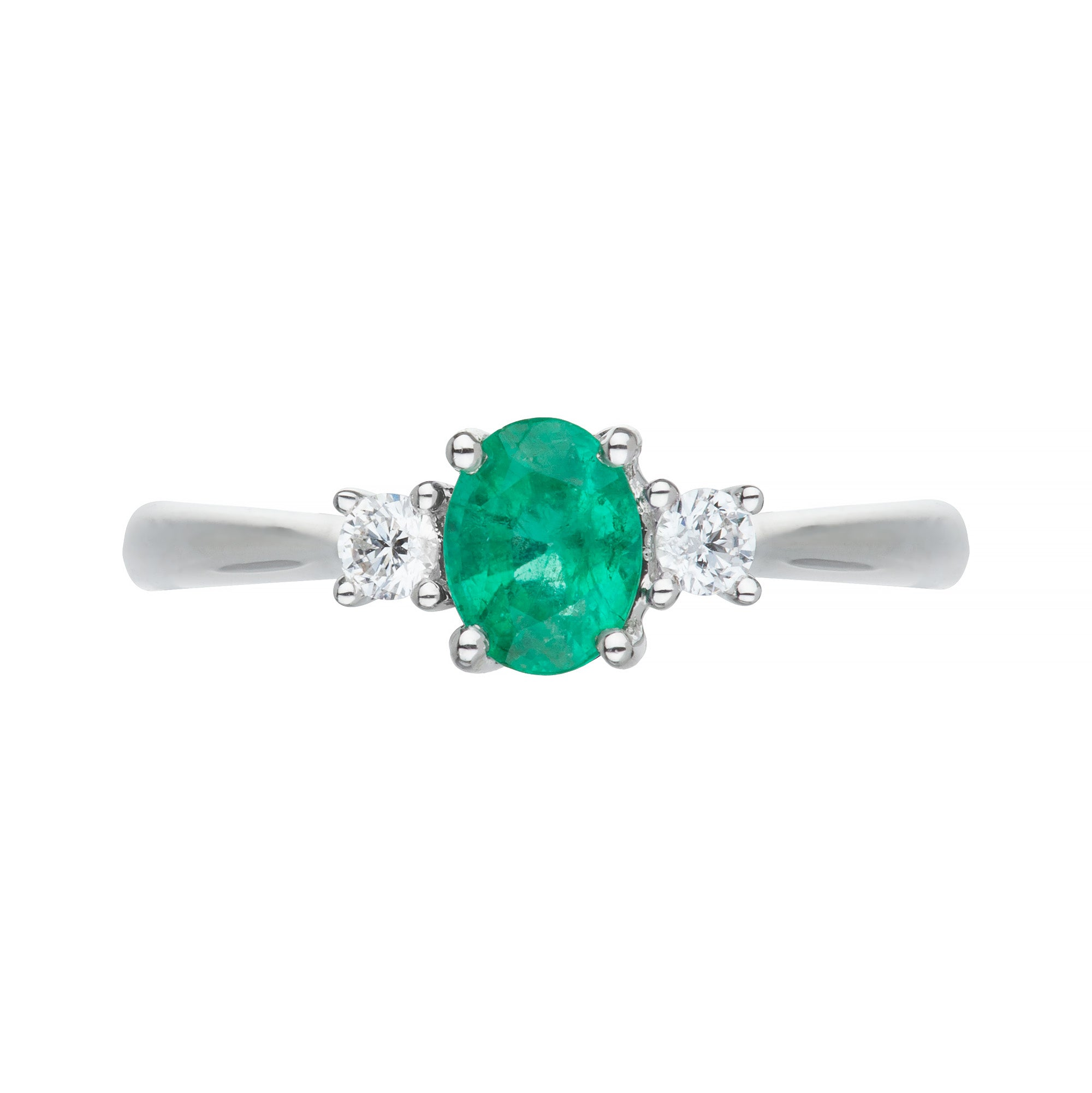 18ct white gold emerald & diamond 3 stone ring