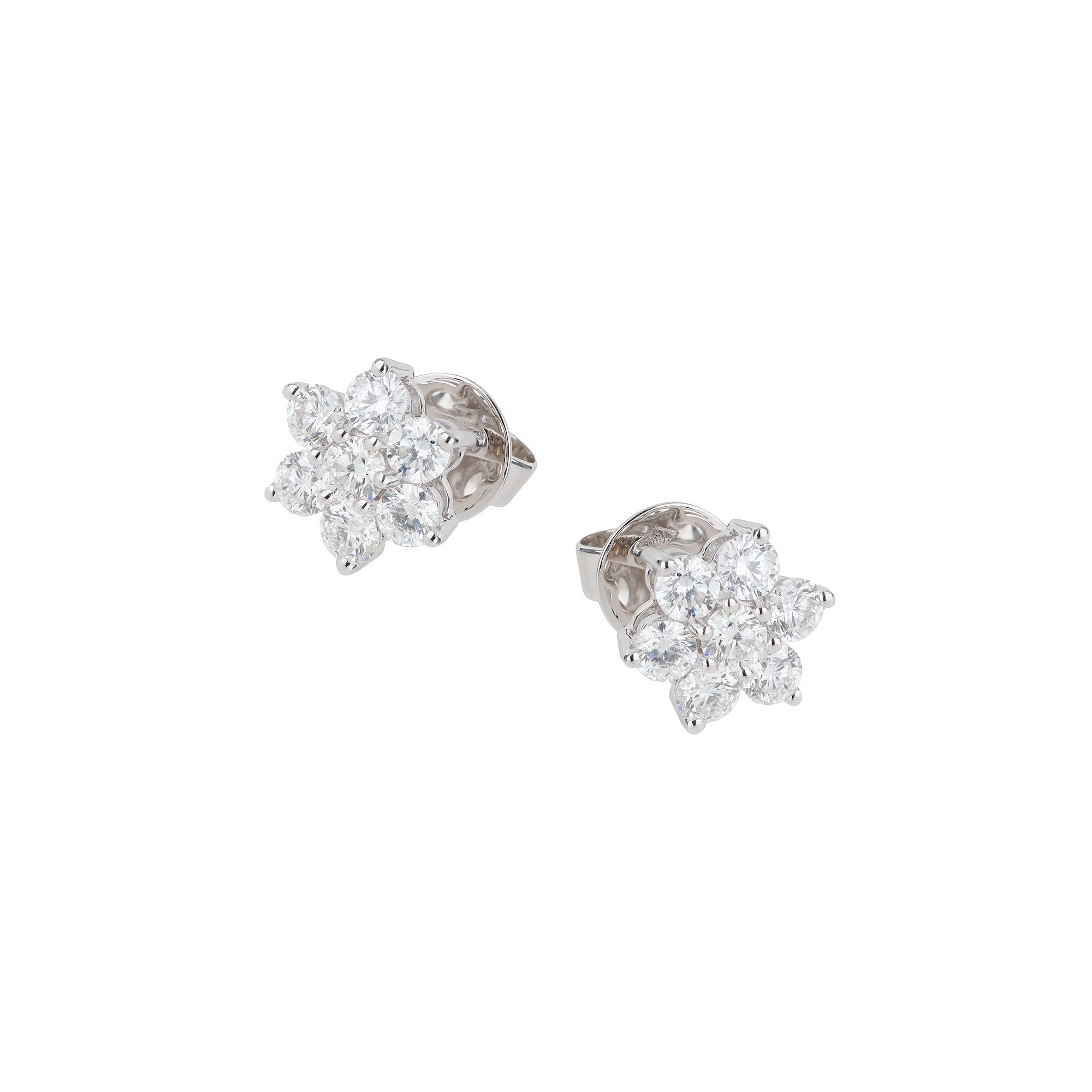 18ct white gold diamond flower cluster earrings