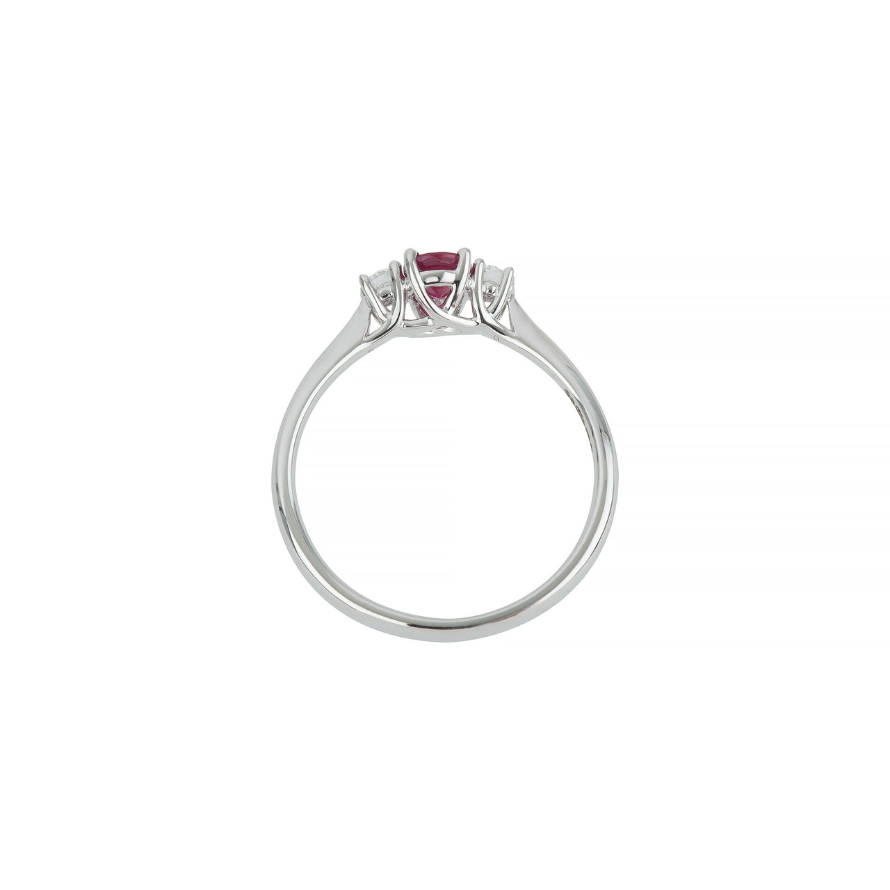 18ct white gold ruby & diamond 3 stone ring