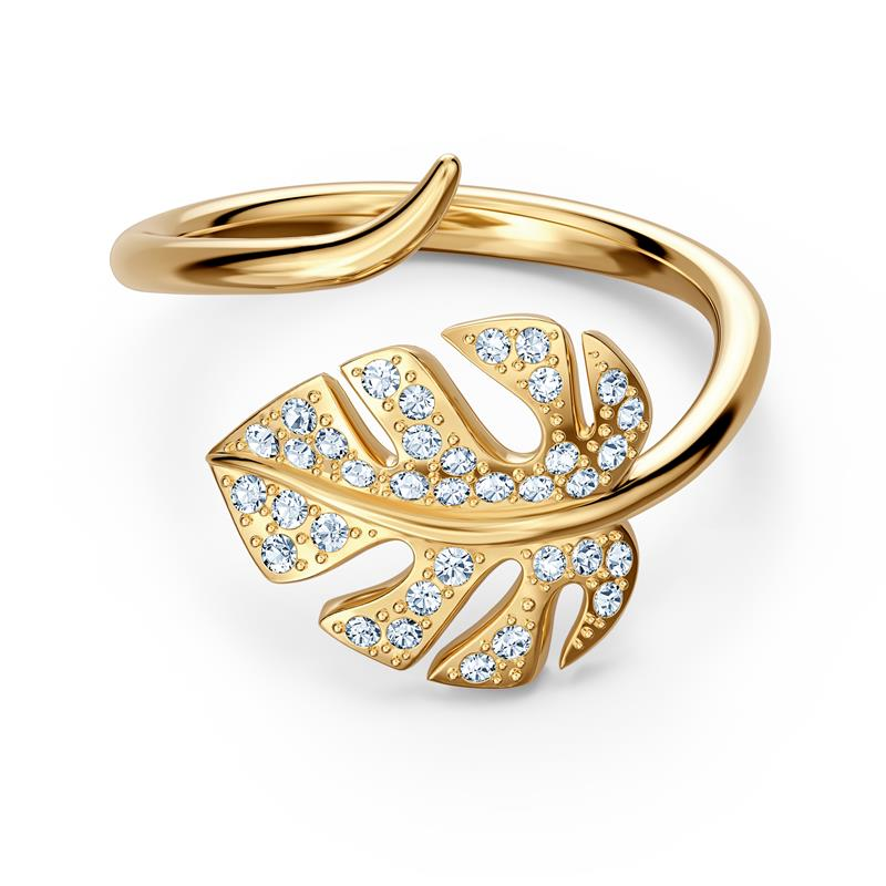 Swarovski Tropical Leaf Open Ring Gold Tone