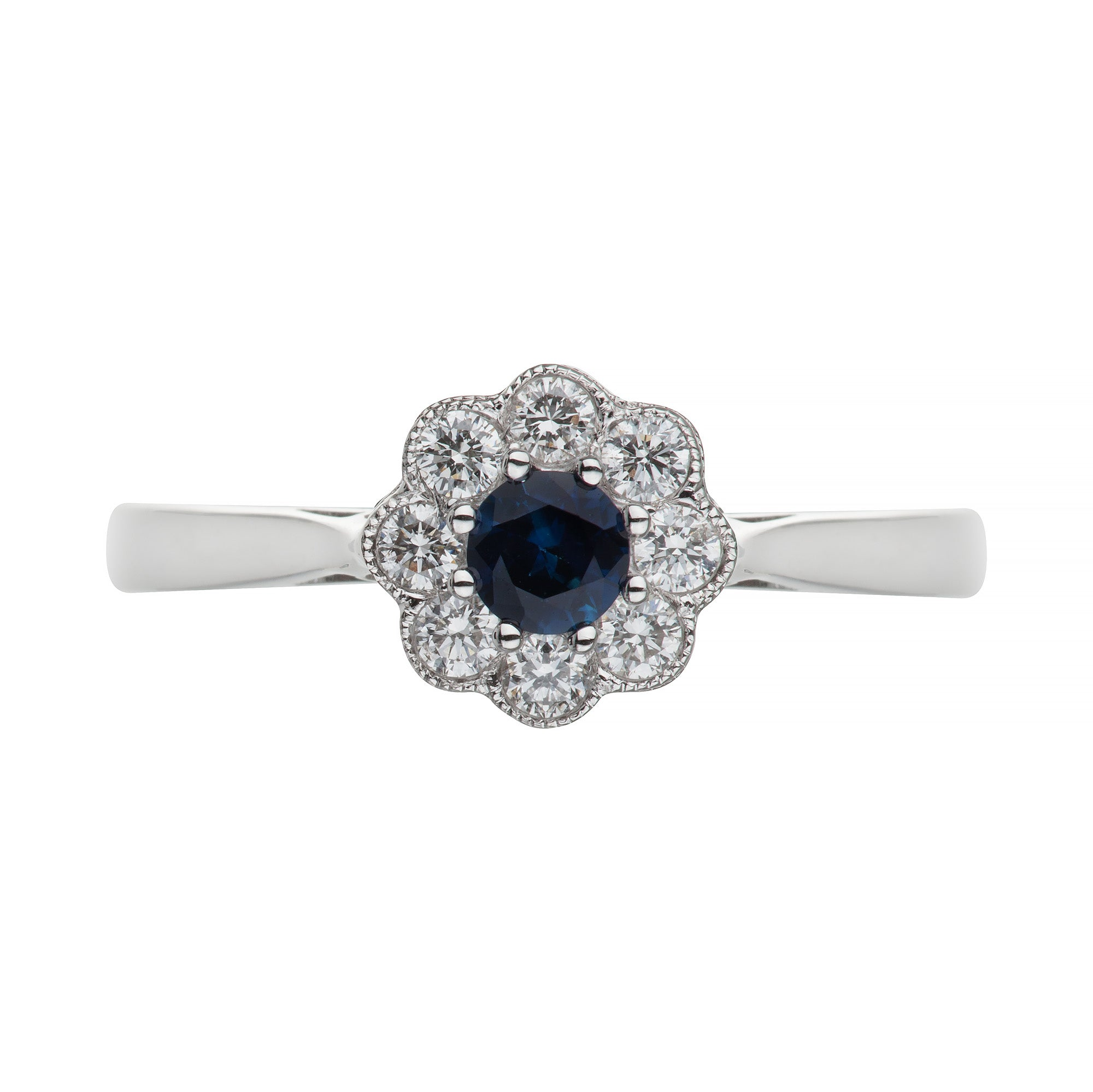 White Gold Sapphire & Diamond Flower Ring