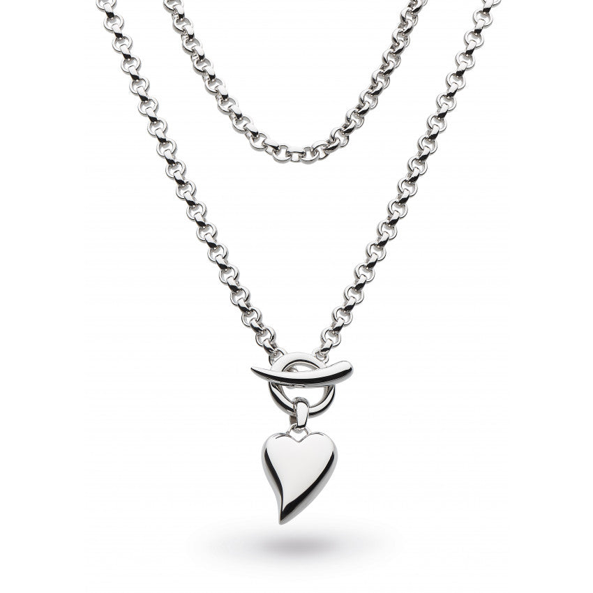 Desire Lavish Lust heart and t-bar silver necklace