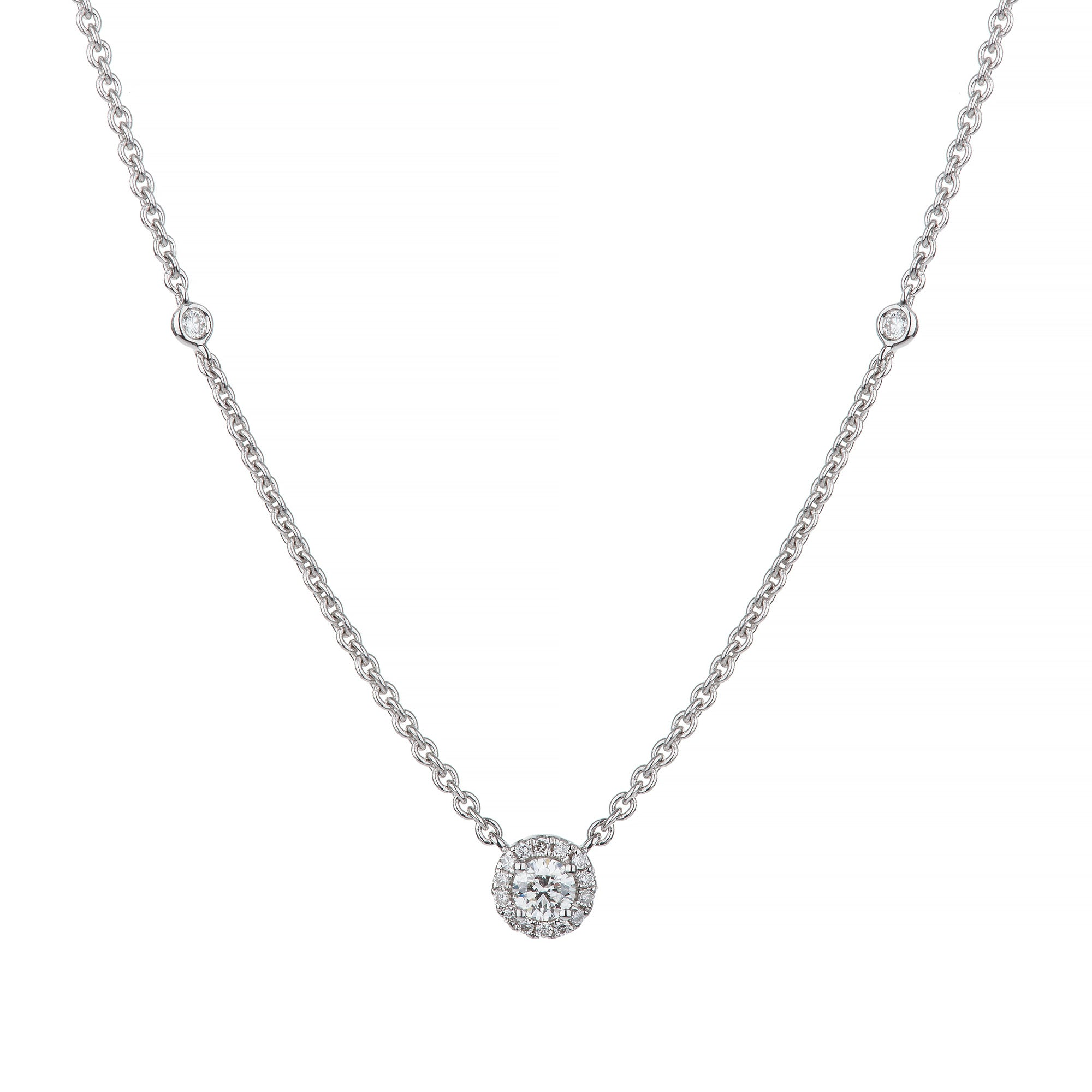 White Gold Classic Round Diamond Necklace