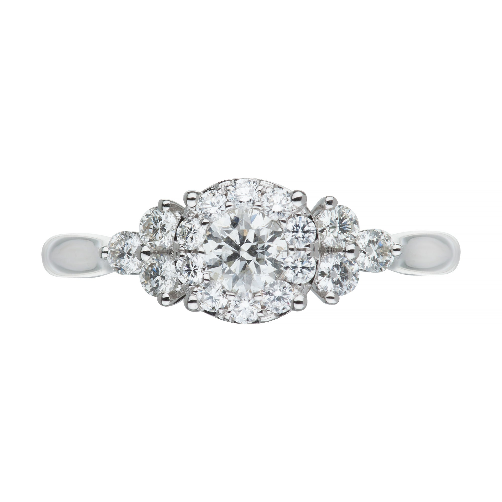 White Gold & Diamond Fancy Cluster Ring