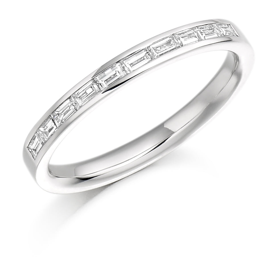 18ct white gold 0.30ct diamond half set eternity ring (HET941) SIZE M