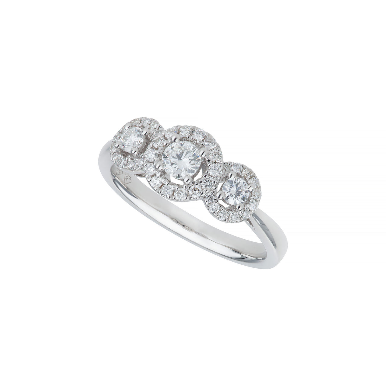 18ct white gold diamond 3 stone cluster ring