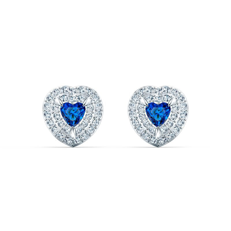 Swarovski One Stud Heart Earrings - Blue 5511685