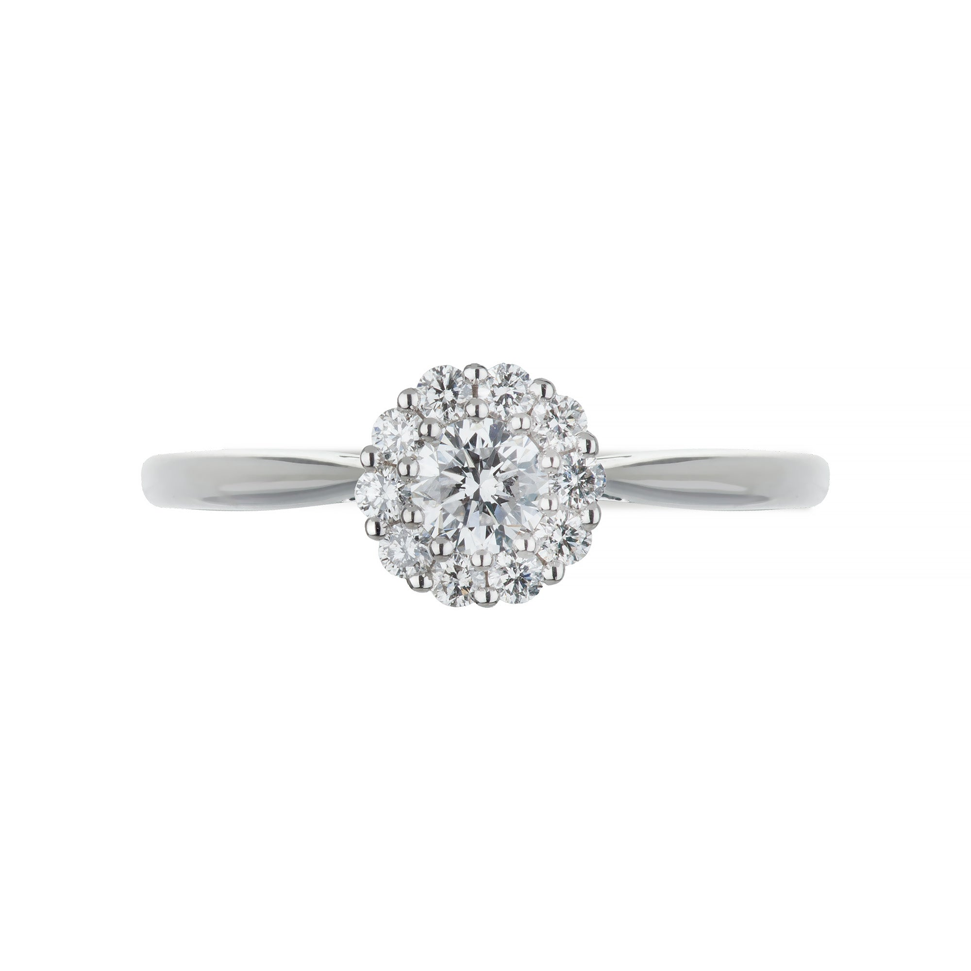 White Gold & Diamond Round Ring