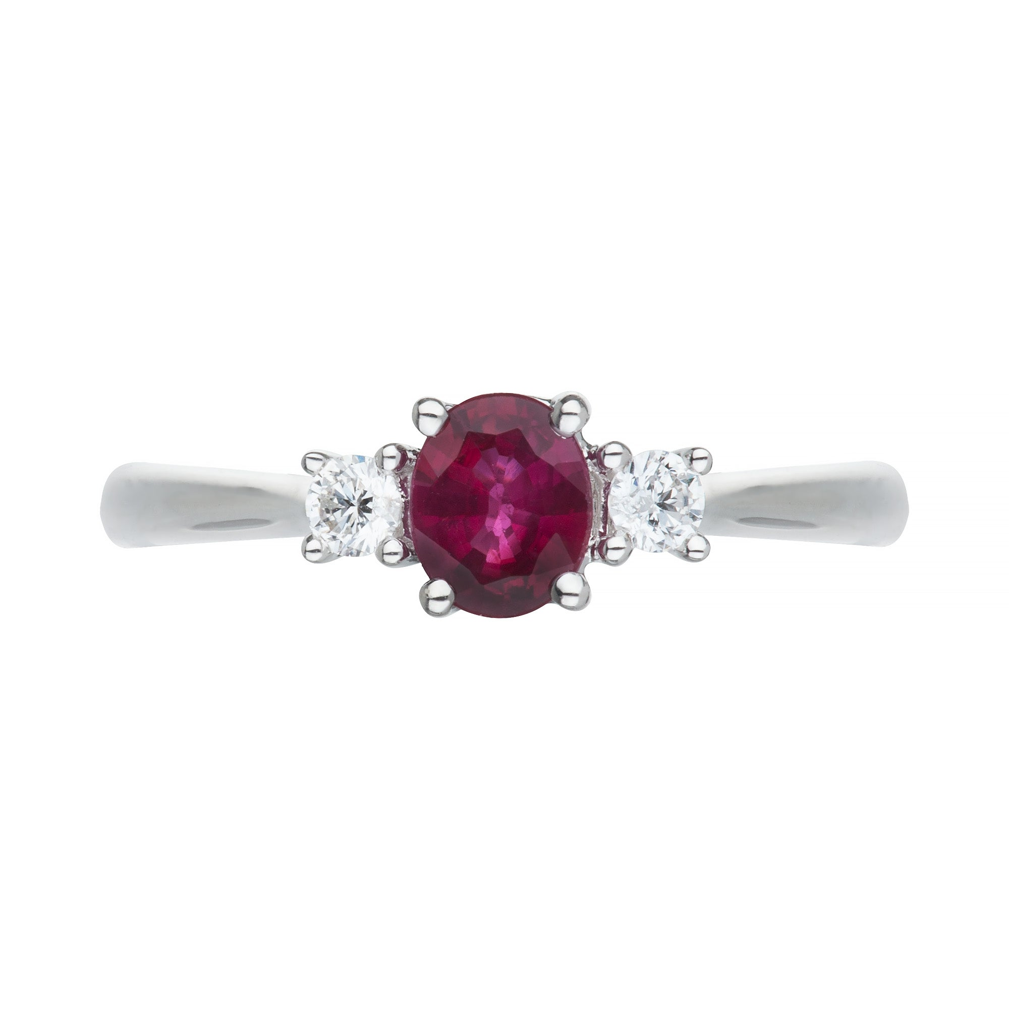 White Gold Oval Ruby & Diamond Ring