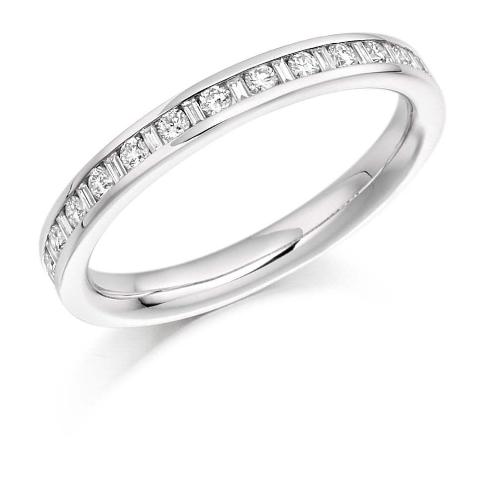 Diamond Gold Half Set Eternity Ring SIZE M