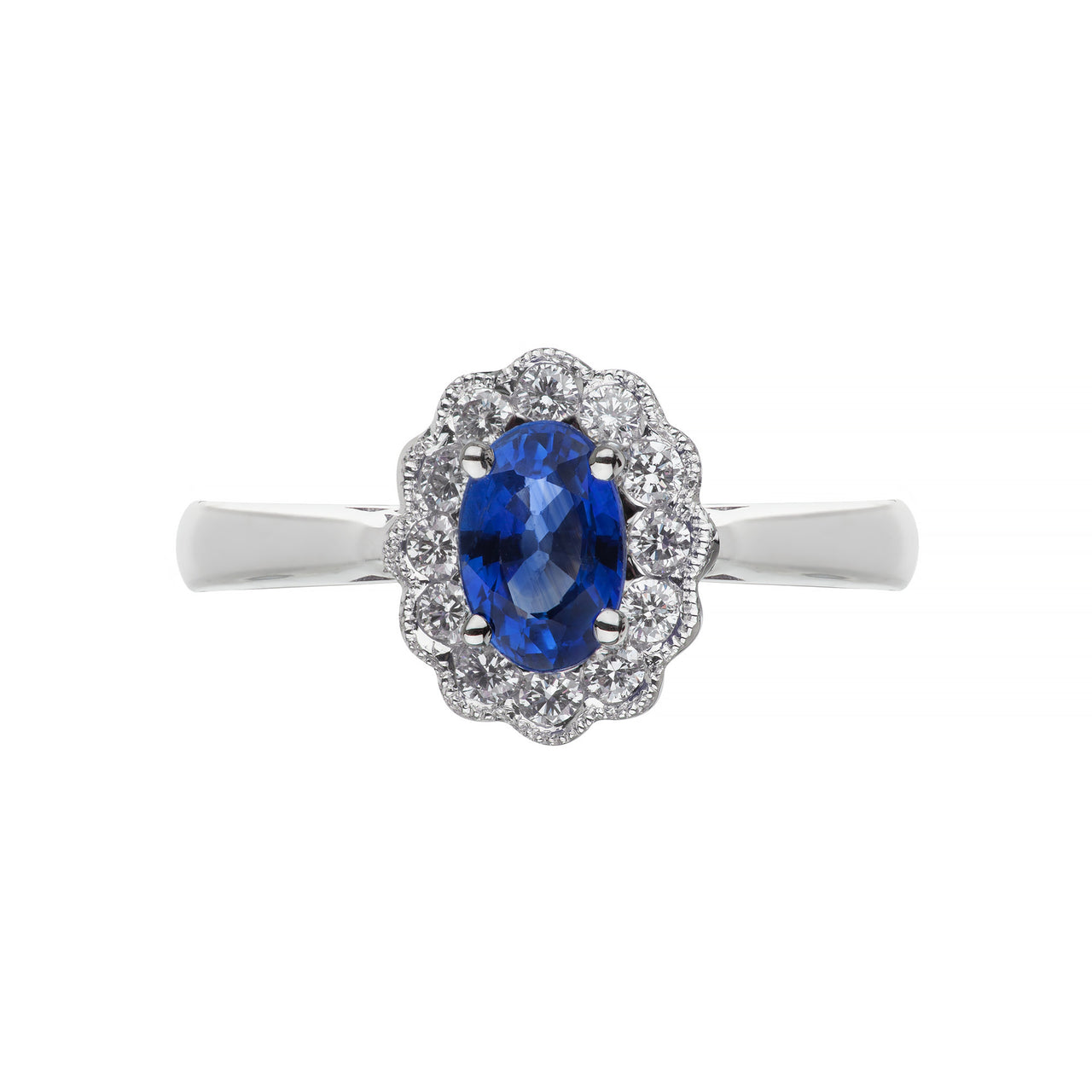 White Gold Sapphire & Diamond Oval Ring
