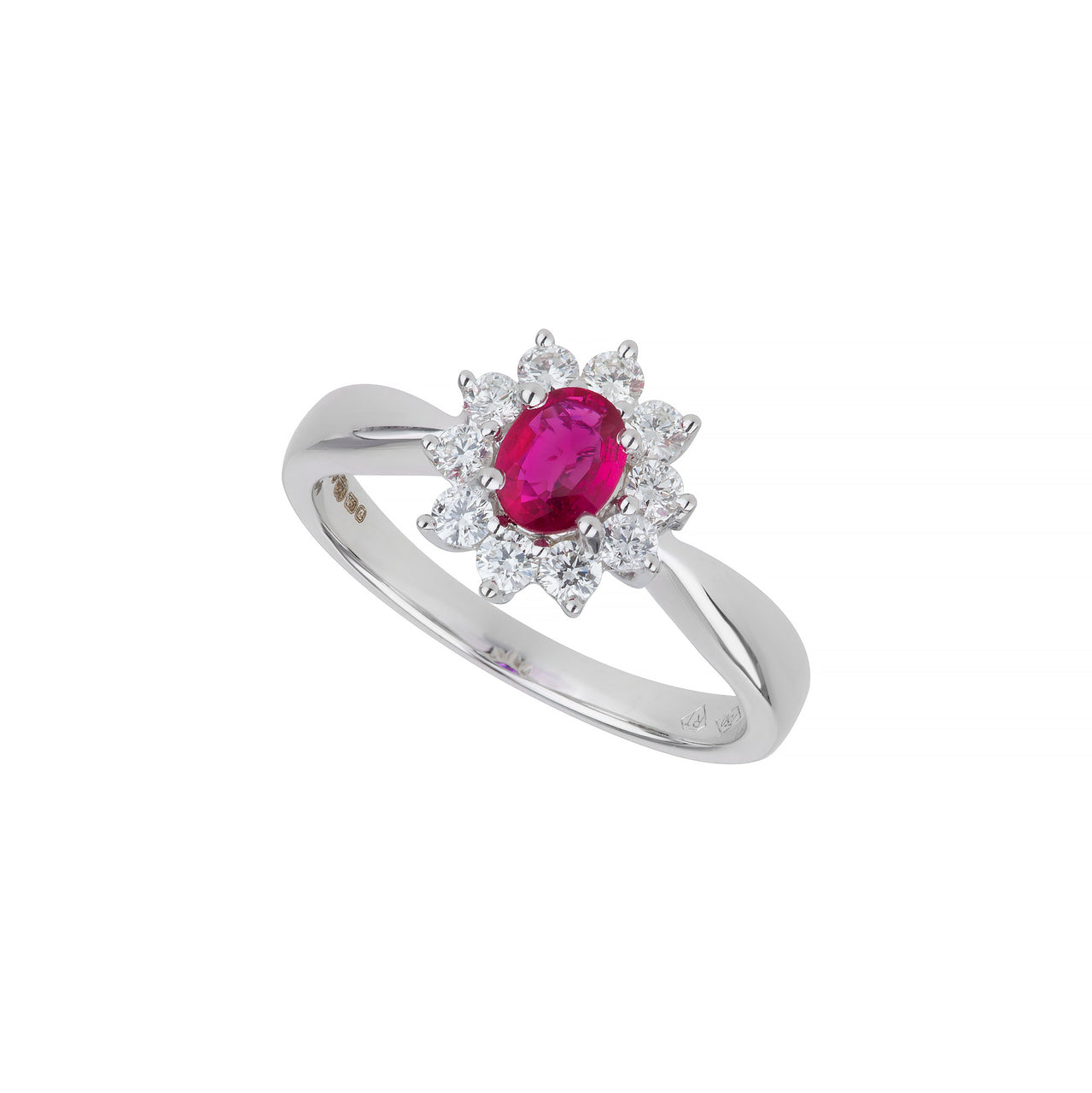 White Gold Ruby & Diamond Star Ring