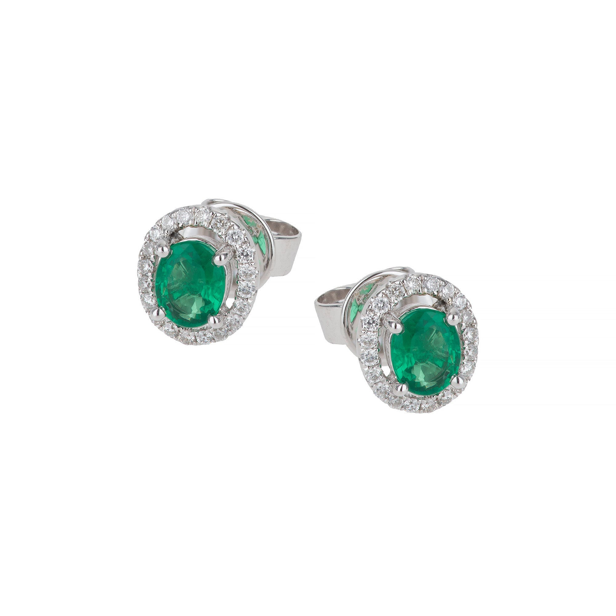 White Gold Emerald & Diamond Studs Earring
