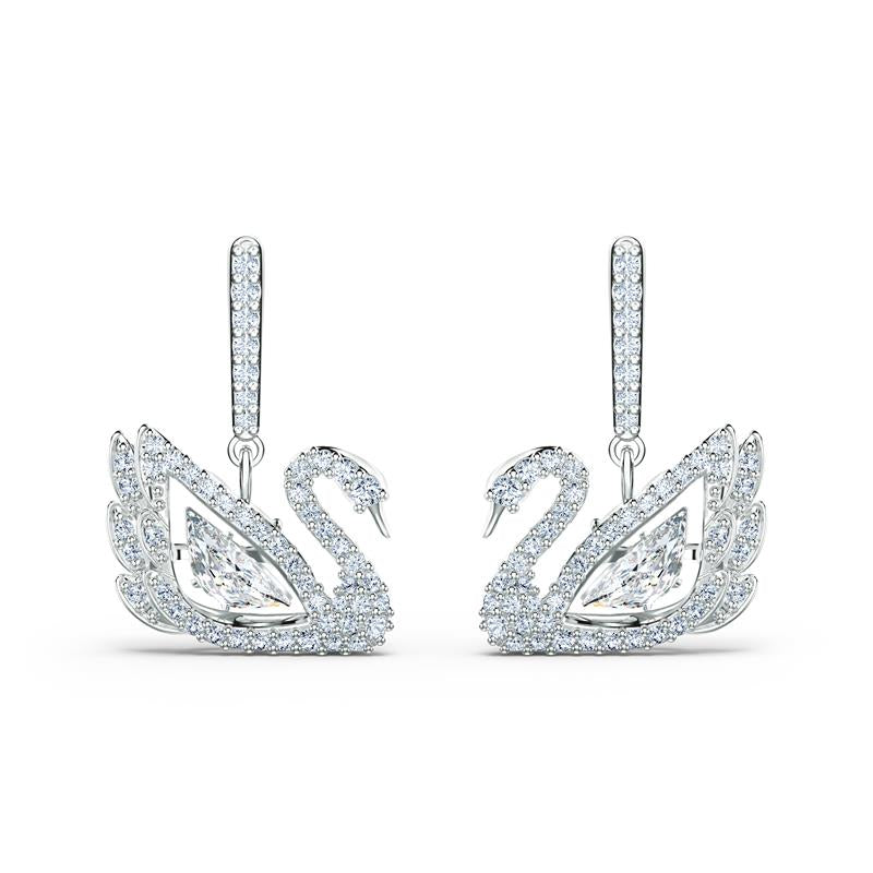 Swarovski Dancing Swan Stud Earrings Rhodium 5514420