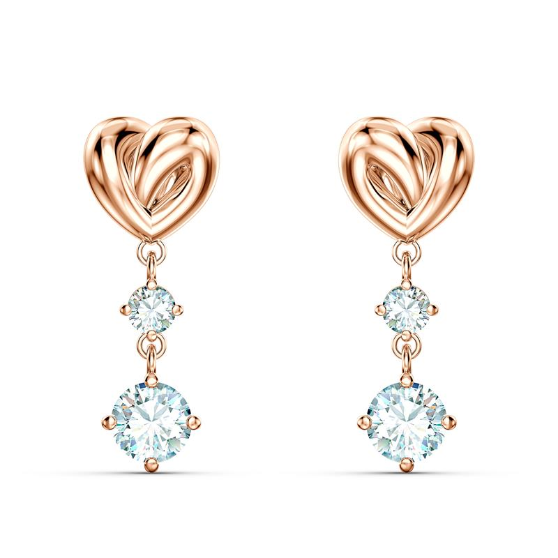 Swarovski Lifelong Heart Earrings Rose Gold 5517942