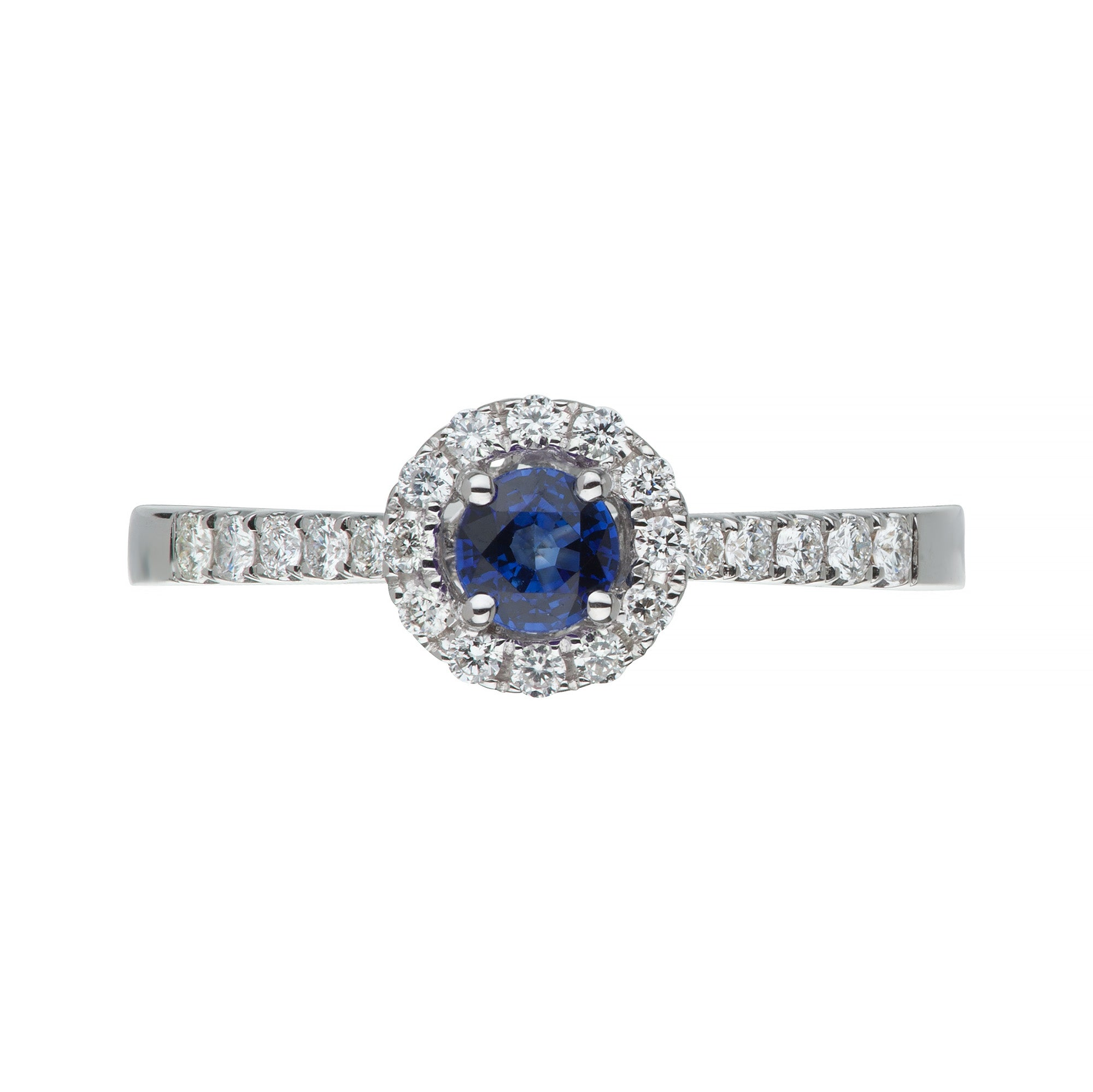 White Gold Sapphire & Diamond Halo Ring