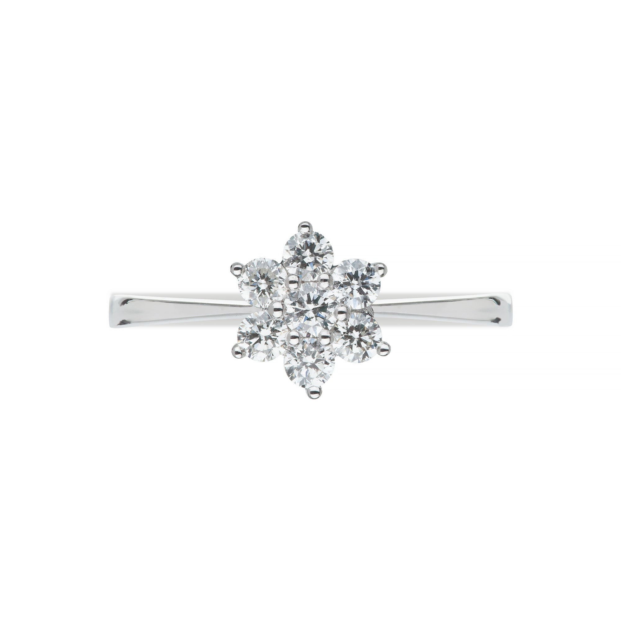 White Gold & Diamond Star Cluster Ring
