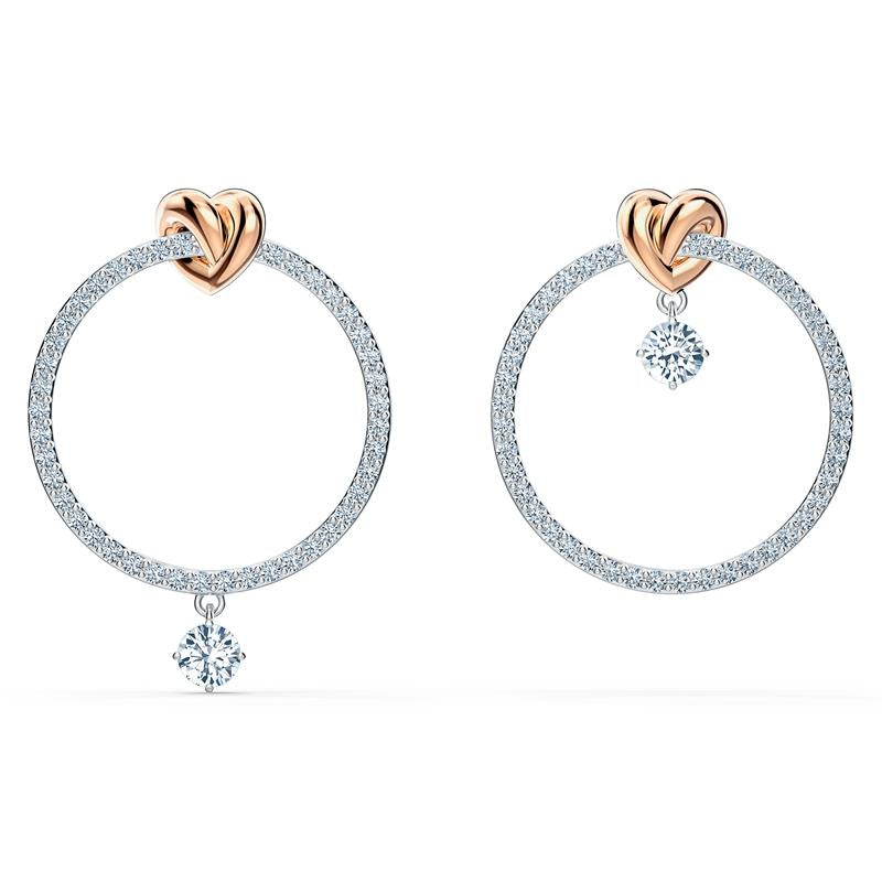 Swarovski Lifelong Heart Stud Hoop Earrings 5517933