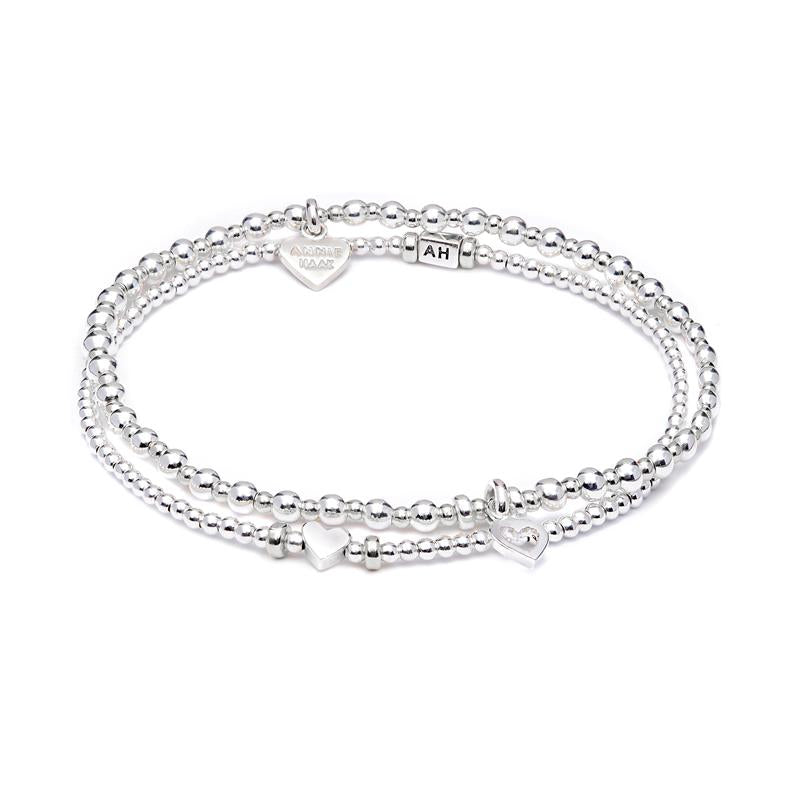 Annie Haak Love Silver Bracelet Stack Heart Charms