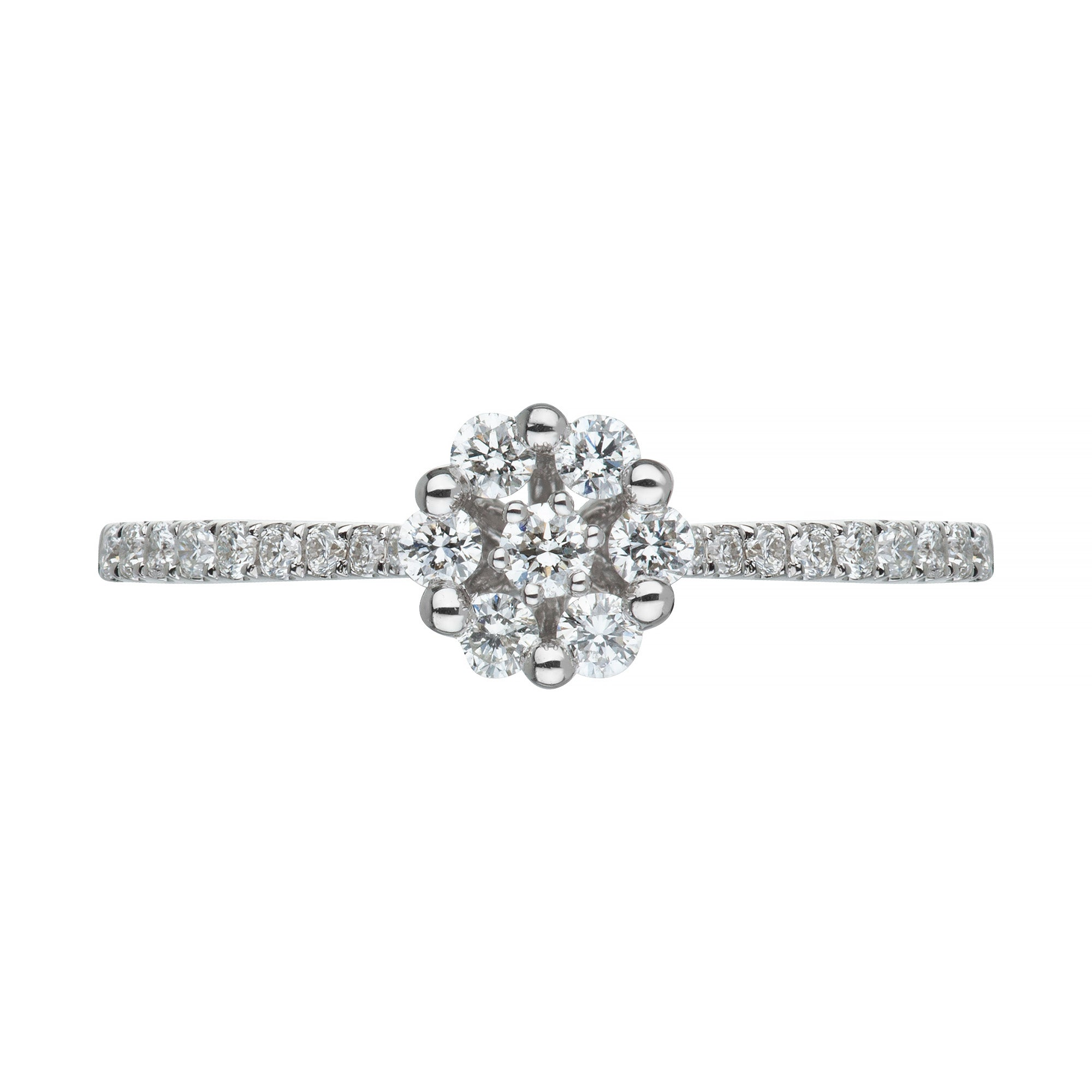 18ct white gold diamond cluster with shoulders ring