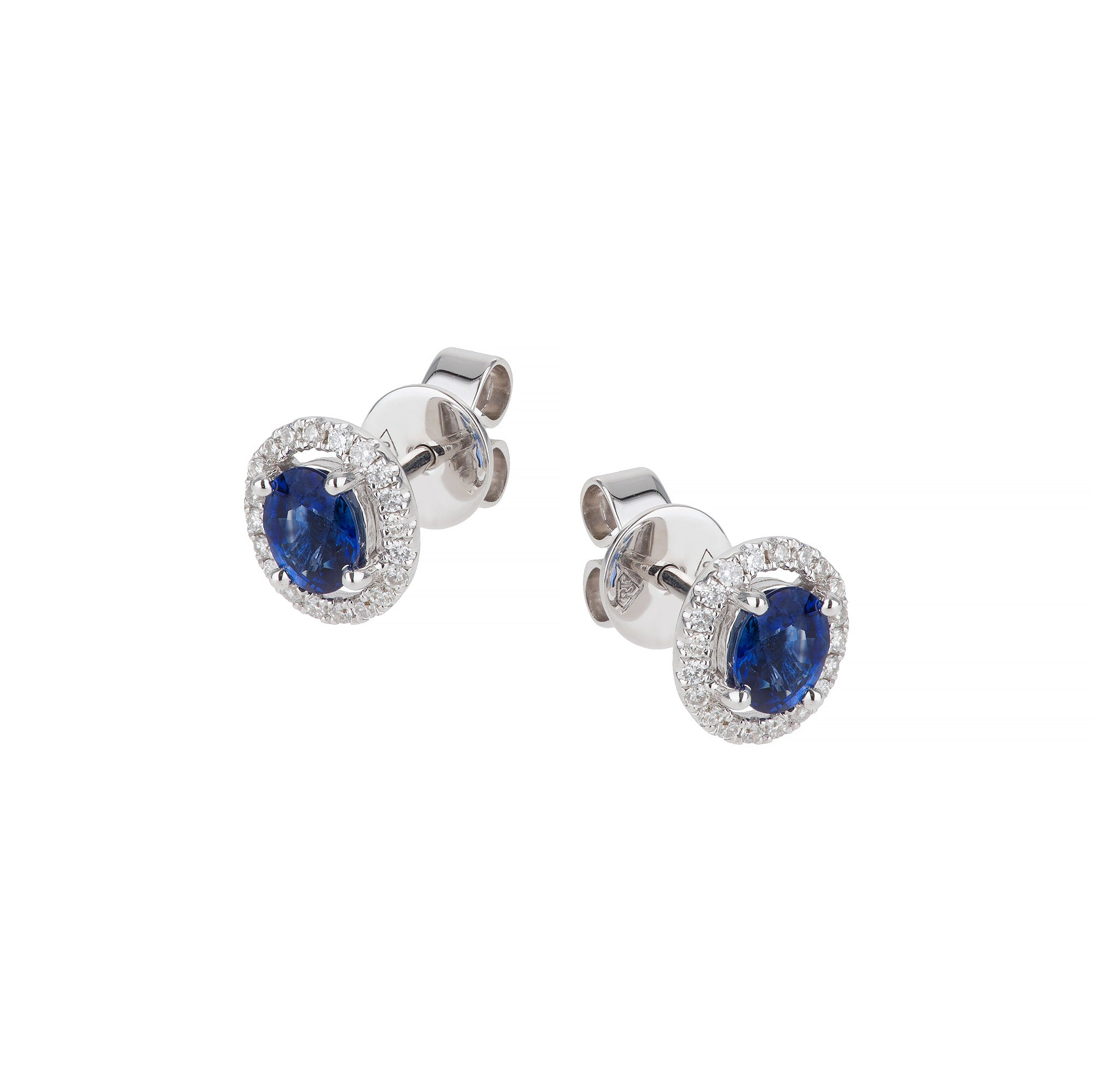 18ct white gold sapphire & diamond cluster earring
