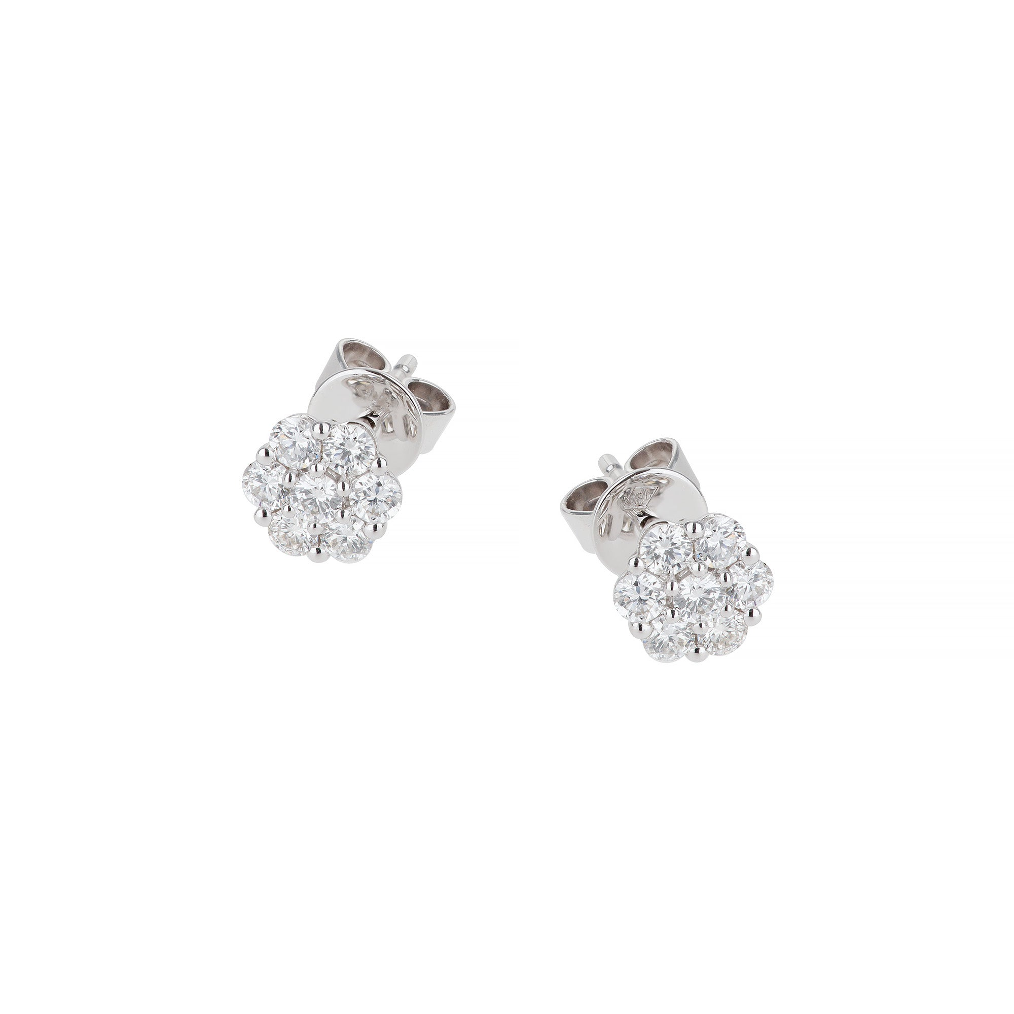 White Gold & Diamond Flower Small Earrings