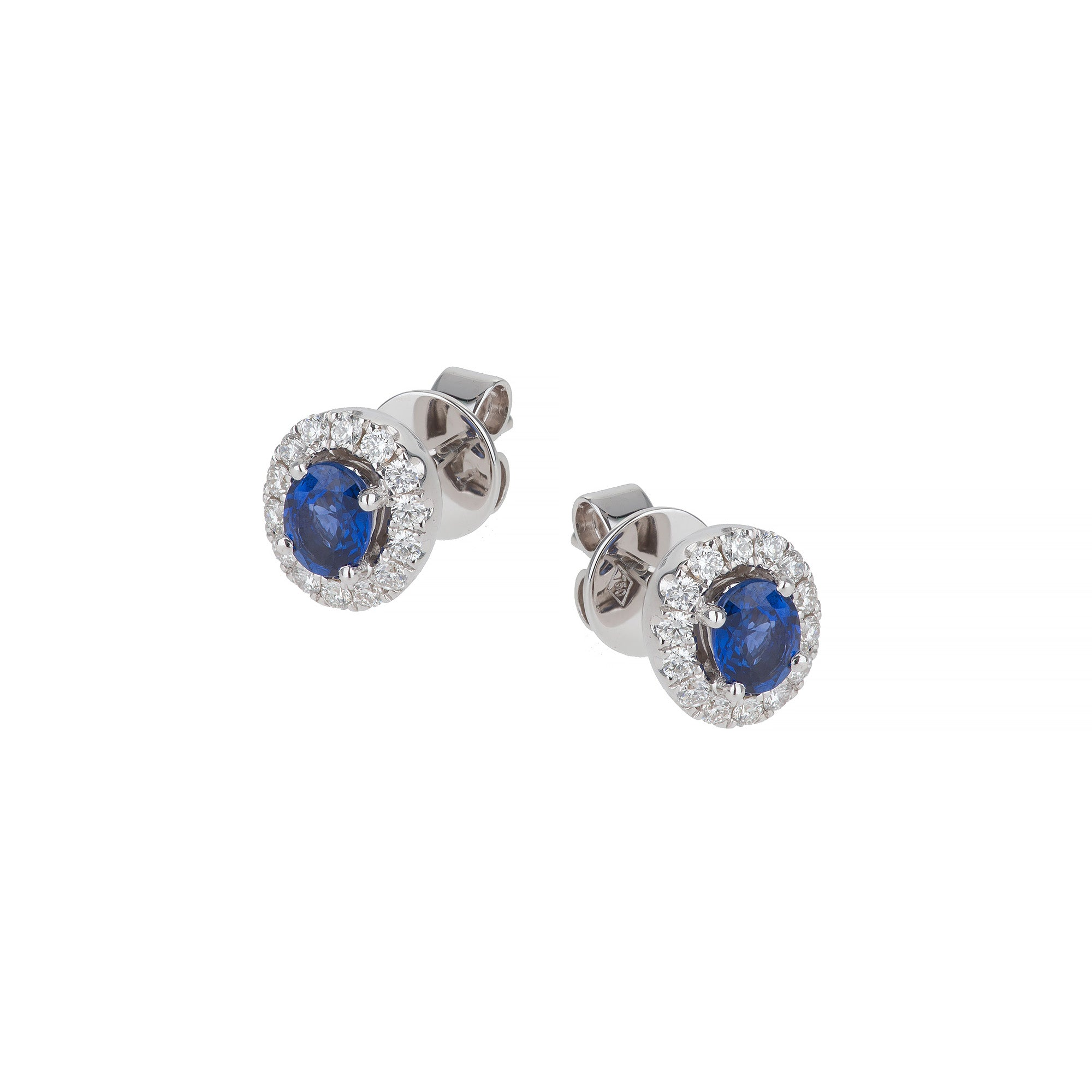 18ct white gold sapphire & diamond halo earrings