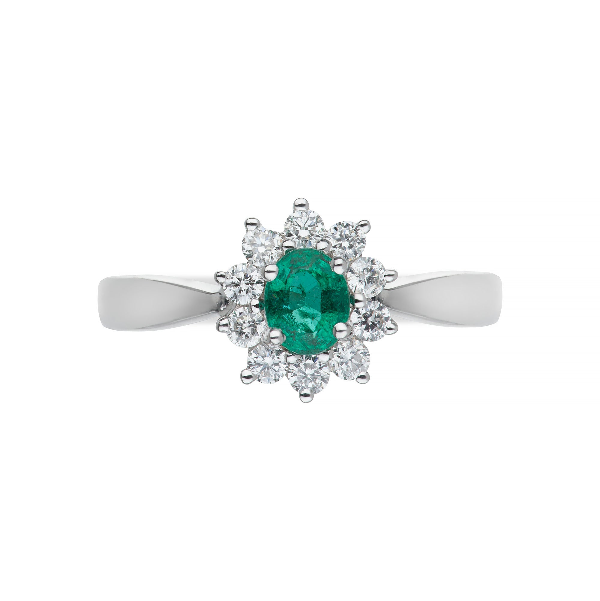 White Gold Emerald & Diamond Cluster Ring
