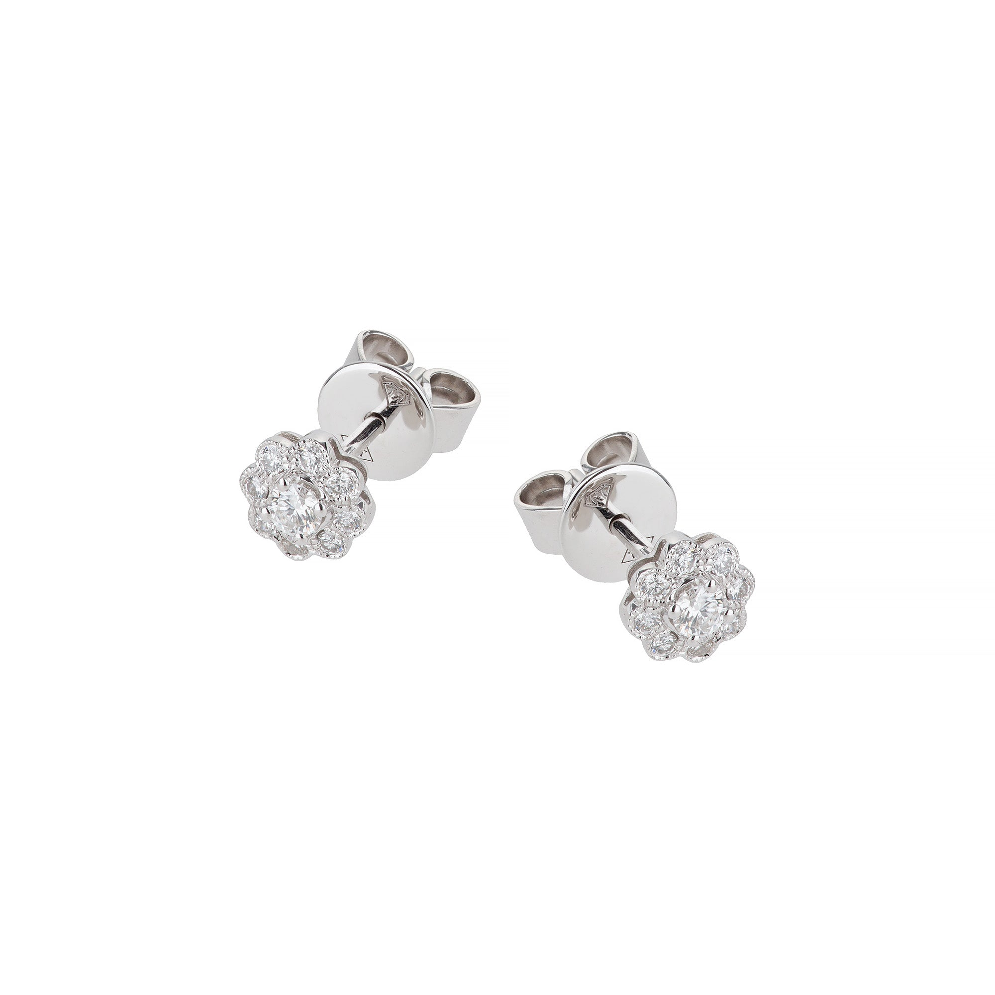 White Gold & Diamond Flower Stud Earrings