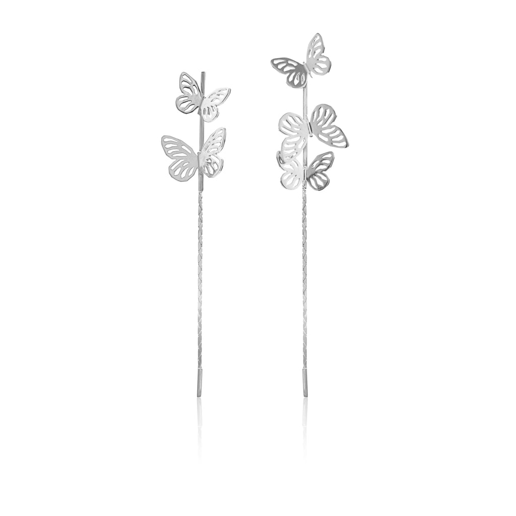 Butterfly Drop Earrings </br> Sterling Silver plated in Rhodium