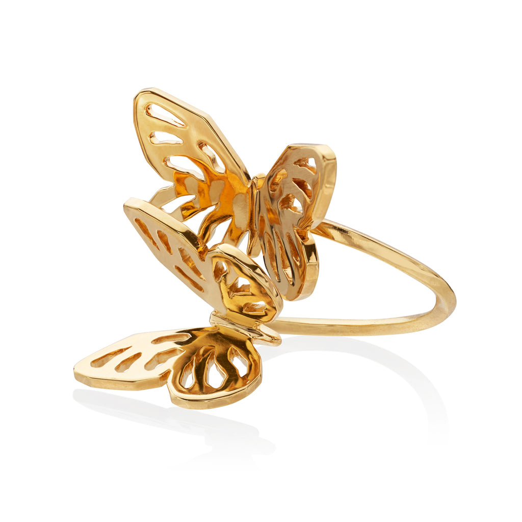 Butterfly Double Ring </br> Sterling Silver Plated in 18ct Yellow Gold