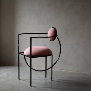 Lunar Chair </br> Steel and Wool, Pink