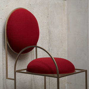 Solar Chair </br> Steel and Wool, Red