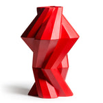 Fortress Column Vase </br> Red Ceramic