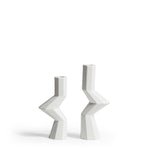 Fortress Militia Candlesticks <br/> White Crackle Ceramic