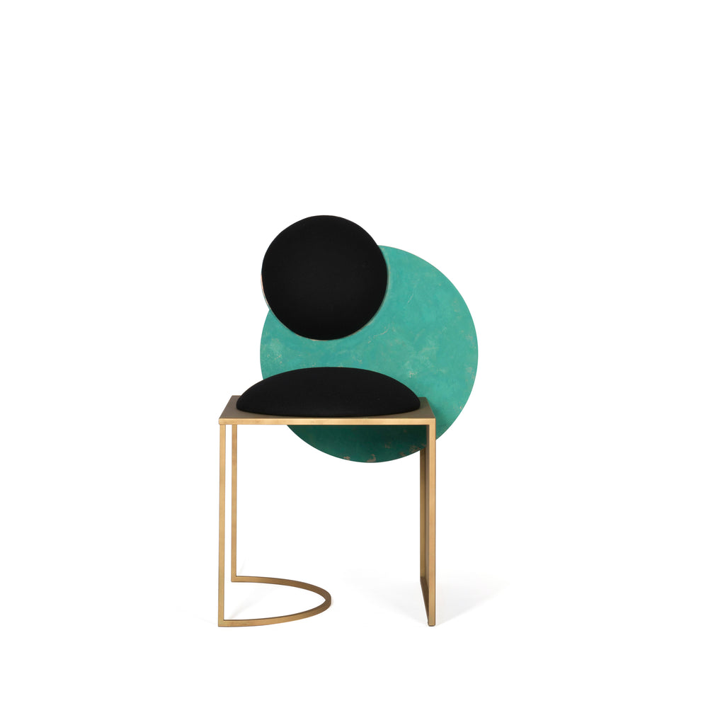 Celeste Chair </br> Steel, Verdigris Copper and Wool