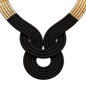 Lunar Eclipse Necklace <br /> 22ct Yellow Gold on Brass and  Half Black Lacquer