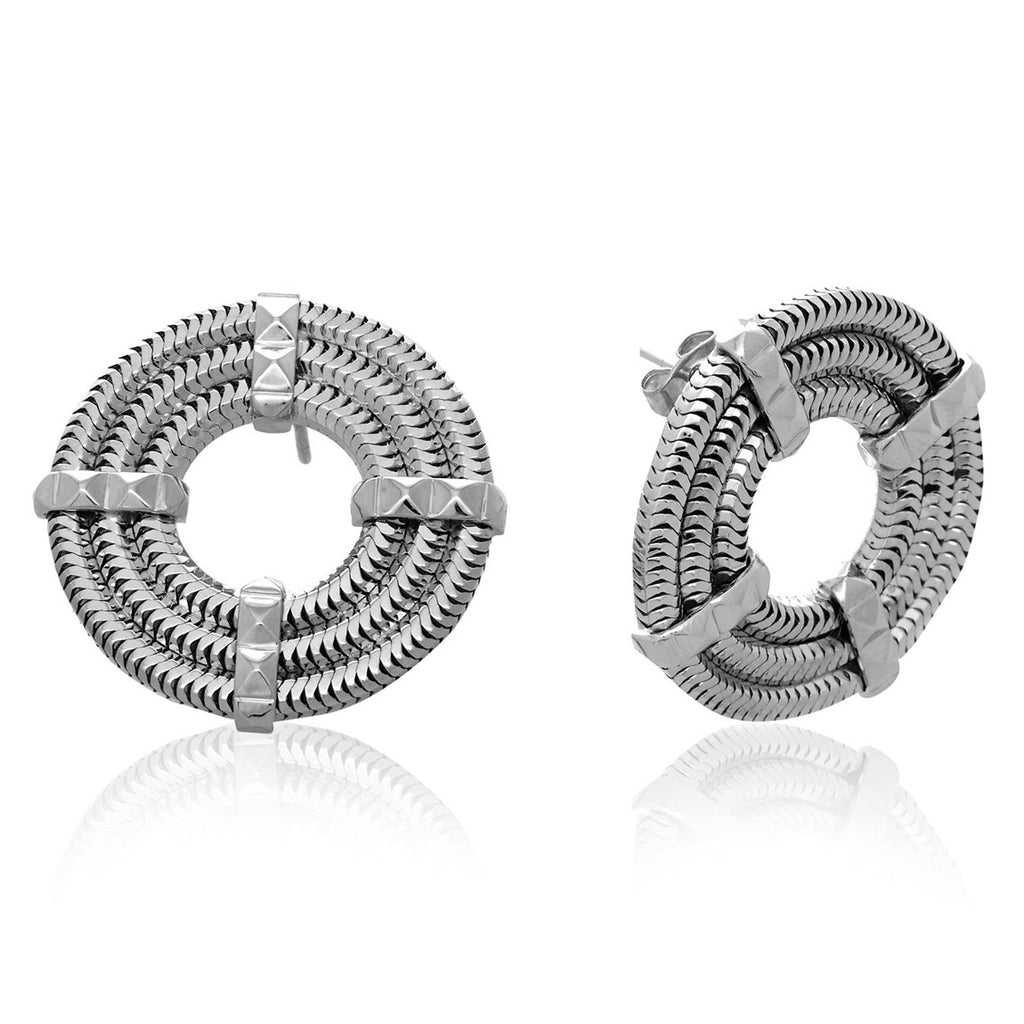 Apollo Stud Earrings <br /> Platinum on Brass