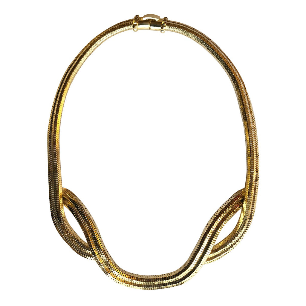 Eclipse Wave Necklace <br /> Brass Plates in 18ct Yellow Gold