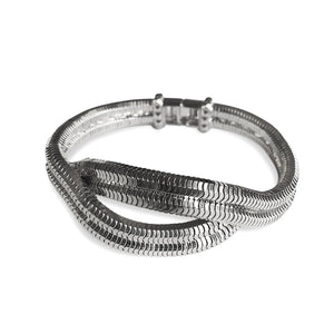 Eclipse Wave Bracelet <br />Platinum plated Brass