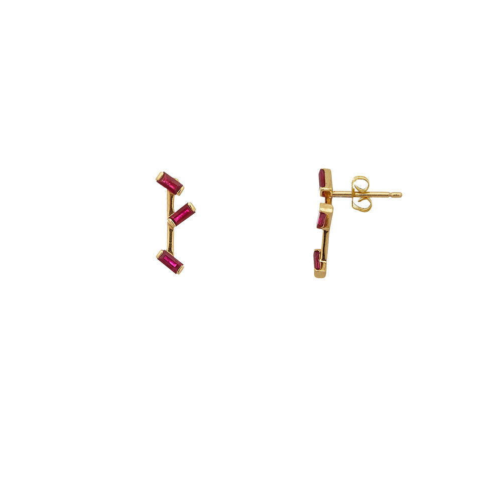 Sakura Triple Studs </br> 18ct Yellow Gold with Rubies