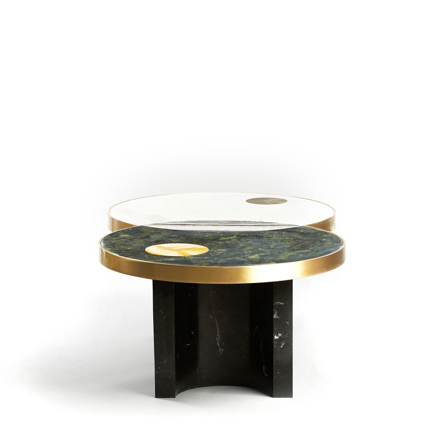 Sun and Moon Coffee Table <br /> Marble with Brass