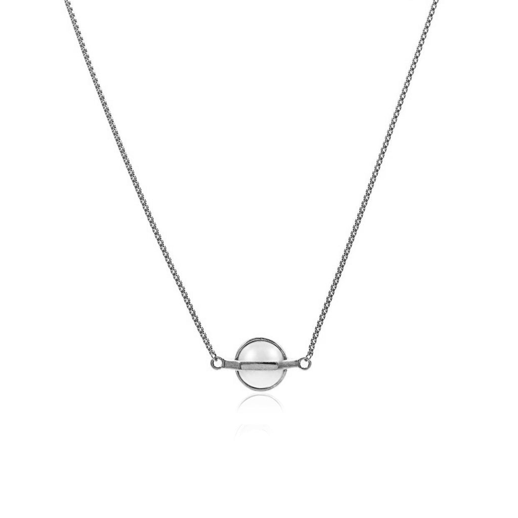 Moon Mechanics Chain Pendant <br />  Rhodium on Sterling Silver
