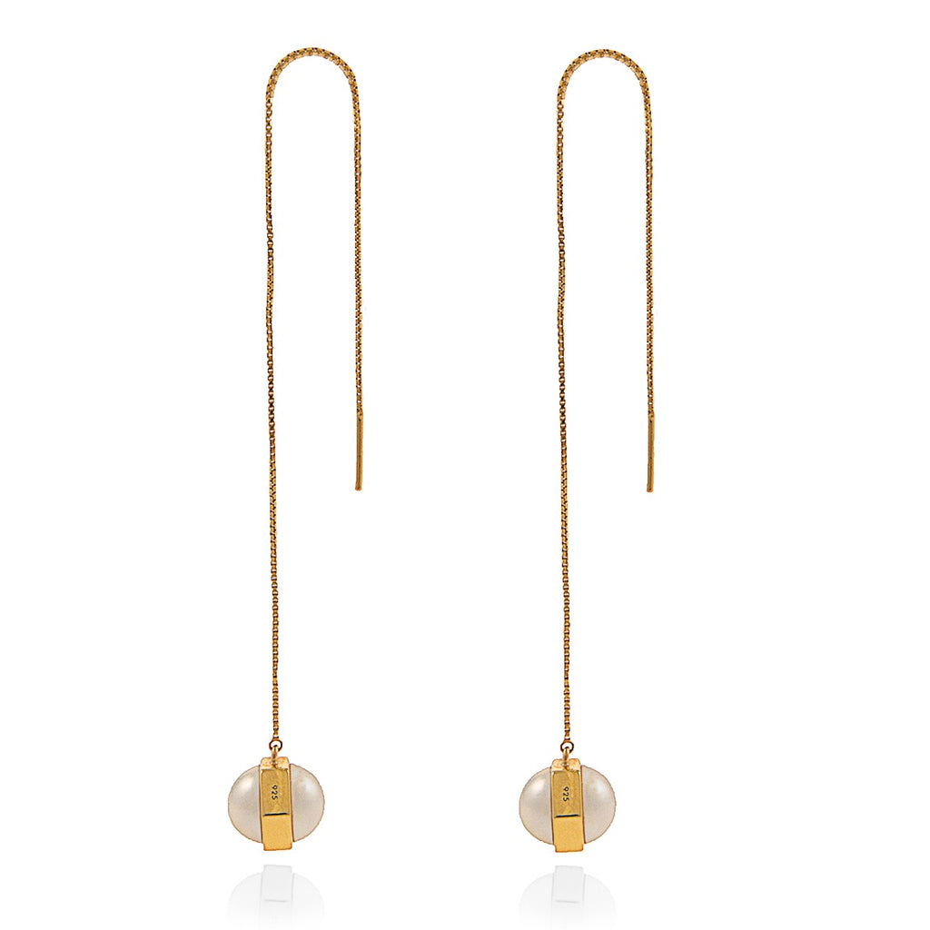 Moon Mechanics Drop Earrings <br /> 18ct Gold Vermeil on Sterling Silver