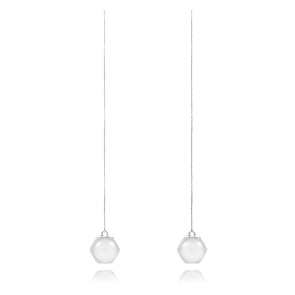 Moon Mechanics Drop Earrings <br /> Rhodium on Sterling Silver