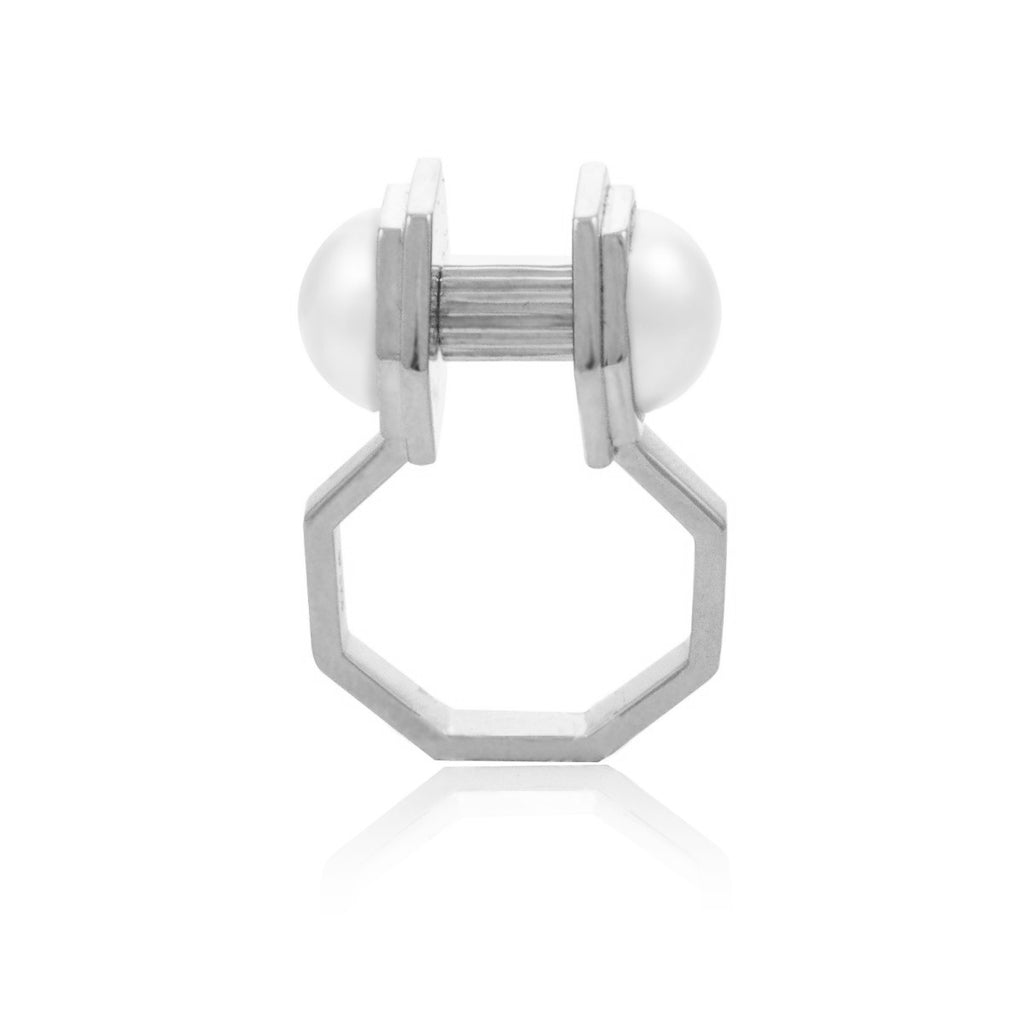 Moon Mechanics Double Ring <br /> Rhodium on Sterling Silver