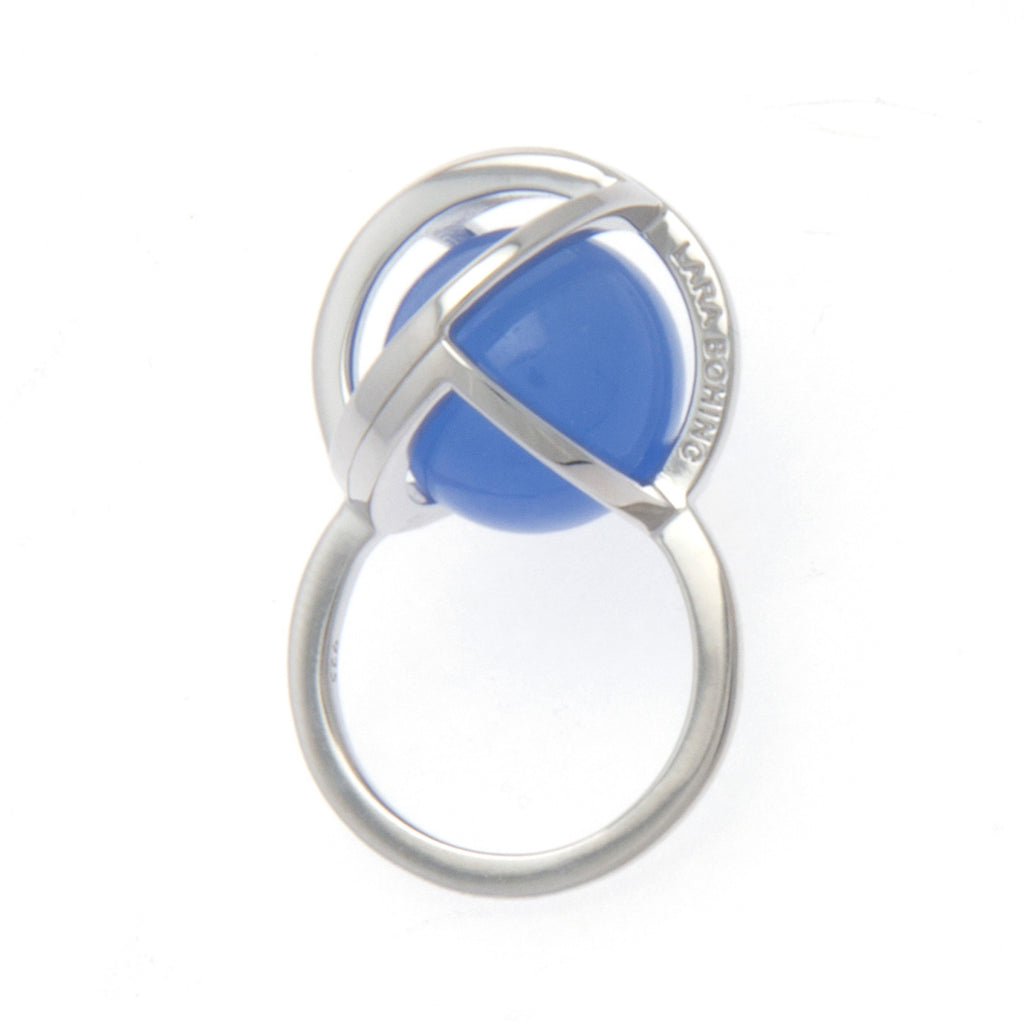 Planetaria Ring 20 </br> Rhodium on Sterling Silver with Blue Jadeite