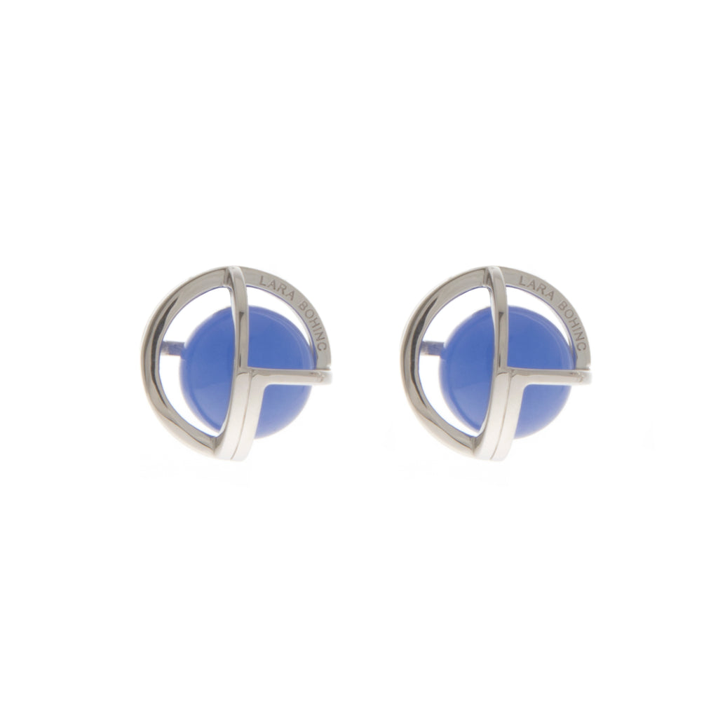 Planetaria 20 Stud Earrings </br> Rhodium on Sterling Silver with Blue Jadeite