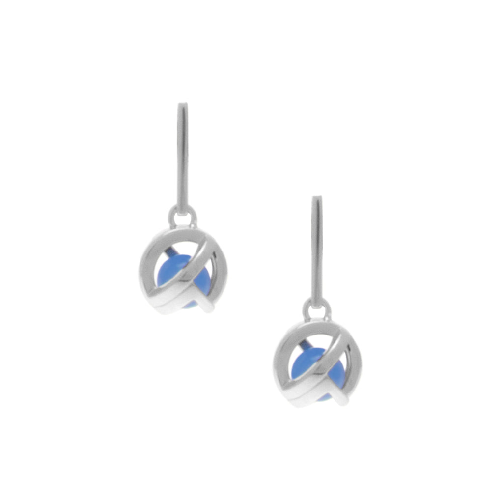 Planetaria 12 Drop Studs</br>Sterling Silver Plated in Rose Gold with Blue Jedeite
